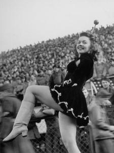USO Drum Majorette Peggy Jean Roan, Berta Stadium Football Game, 5th Army vs. 12th Air Force by Margaret Bourke-White