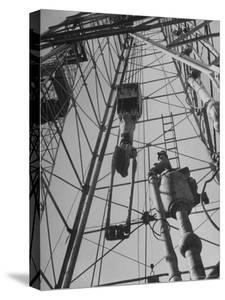 View Looking Up Derrick During Oil Drilling Operations Off Louisiana Coast by Margaret Bourke-White