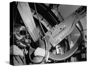 "Waist Gunner Robert G. Nichols Manning His 50 Cal. Machine Gun in the American B-17 ""Little Bill"" by Margaret Bourke-White"