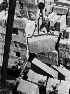 Workers of Rock at Indiana Limestone Co. provide stone for Landmark Skyscrapers by Margaret Bourke-White