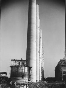 Workmen Building Huge Chimneys at World's Biggest Coal-Fueled Power Plant by Margaret Bourke-White