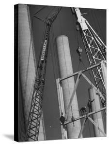 Workmen Builiding Chimneys at World's Biggest Coal-Fueled Generating Plant by Margaret Bourke-White