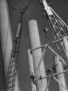 Workmen Builiding Chimneys at World's Biggest Coal-Fueled Generating Plant by Margaret Bourke-White