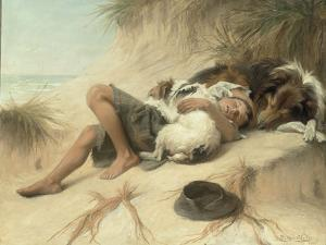 A Child Sleeping in the Sand Dunes with a Collie, 1905 by Margaret Collyer