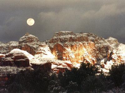 Moon Above Snow-Covered Boynton Canyon, Sedona, Arizona, USA