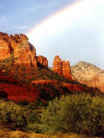 Partial Rainbow over Red Rocks with Bluish Sky, Sedona, Arizona, USA