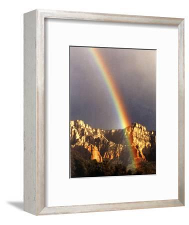 Very Dark Gray Sky, Rainbow over Red Rocks, Sedona, Arizona, USA