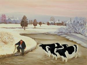 Cows in a Winter River by Margaret Loxton