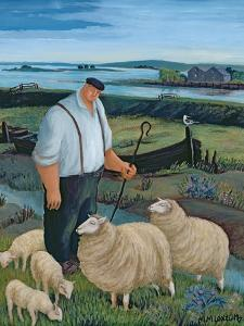 Shepherd with Sheep in River Landscape by Margaret Loxton