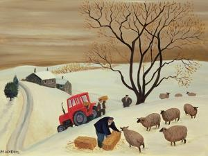 Taking Hay to the Sheep by Tractor by Margaret Loxton