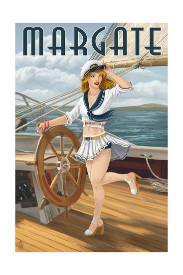 Margate, New Jersey - Pinup Girl Sailing-Lantern Press-Art Print