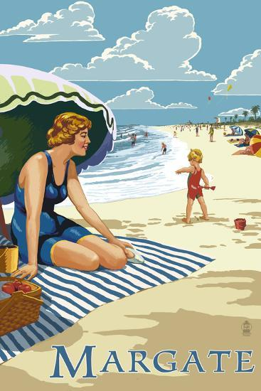 Margate, New Jersey - Woman on the Beach-Lantern Press-Art Print