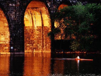 Scull Near Bridge on Schuylkill River, Philadelphia, Pennsylvania