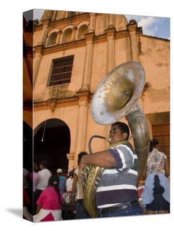 Tuba Player in Front of Iglesia San Juan Bautista de Subtiava During Semana Santa, Leon, Nicaragua