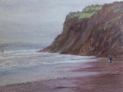 Cliffs at Shaldon S/Devon,  pastel