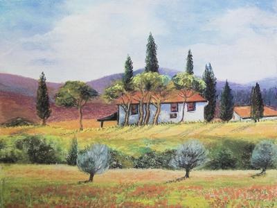 French farmland,  pastel