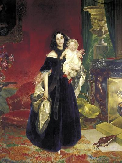 Maria Arkadyevna (Stolypin) Beck (1819-188) with Her Daughter, 1840-Karl Pavlovich Briullov-Giclee Print