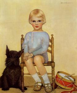 Boy with Dog, 1933 by Maria Dekammerer