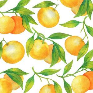Fresh Tangerines with Green Leaves by Maria Mirnaya