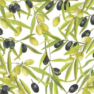 Green and Black Olives Watercolor