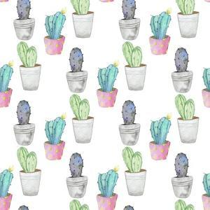Pattern with Cactus Plant in a Pot by Maria Mirnaya