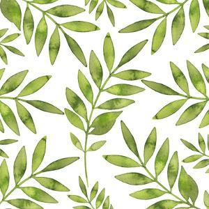 Watercolor Background with Green Fern Branch by Maria Mirnaya
