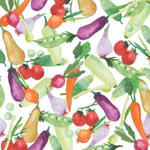 Watercolor Fresh Vegetables and Herbs by Maria Mirnaya