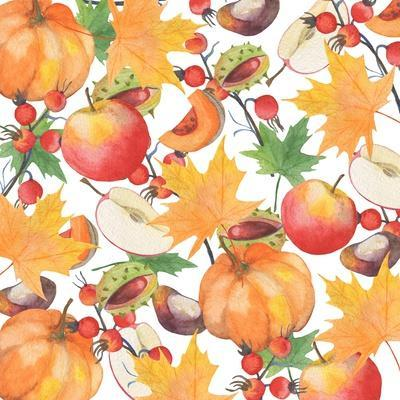 Watercolor Orange Maple Leaves, Orange Pumpkin, Red Apple, Chestnut and Autumn