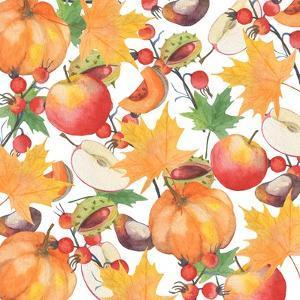 Watercolor Orange Maple Leaves, Orange Pumpkin, Red Apple, Chestnut and Autumn by Maria Mirnaya