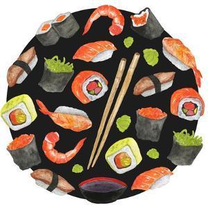 Watercolor Sushi Circle - Japan by Maria Mirnaya