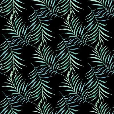Watercolor Tropical Palm Leaves on Dark Background