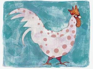 White Rooster with Red Socks by Maria Pietri Lalor