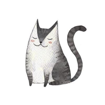 Cute Gray Cat. Watercolor Kids Illustration with Domestic Animal. Lovely Pet. Hand Drawn Illustrati