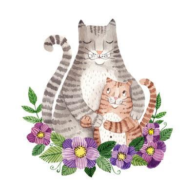 Cute Mother's Day Greeting Card with Cats. Watercolor Illustration