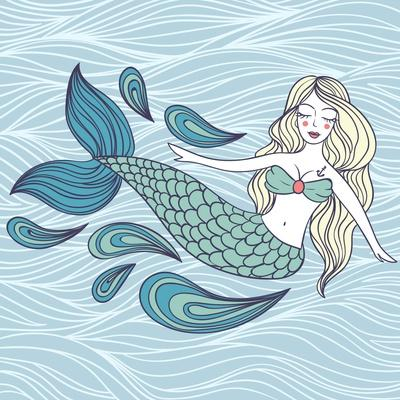 Cute Mystical Mermaid.Deep Ocean.Vector Illustration.Waves Background.