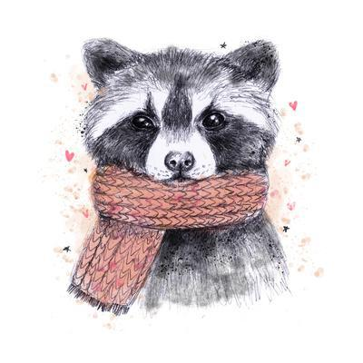 Cute Raccoon with Scarf , Sketchy Style. Autumn Cozy Illustrations with Warm Colors. Perfectly for