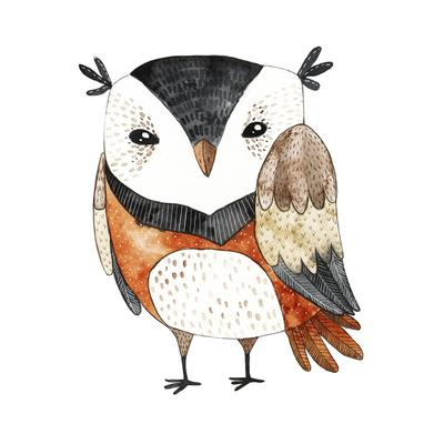 Watercolor Funny Kids Illustration with Owl. Hand Drawn Animal Drawing. Owl Bird Painting. Perfect