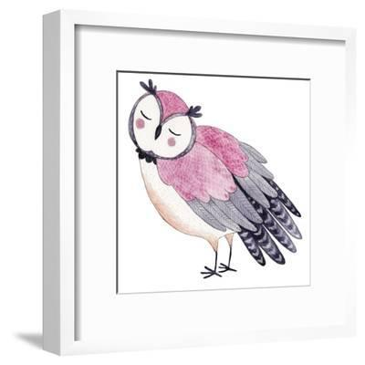 Watercolor Funny Kids Illustration with Owl. Hand Drawn Animal Drawing. Owl Bird Painting. Perfect by Maria Sem