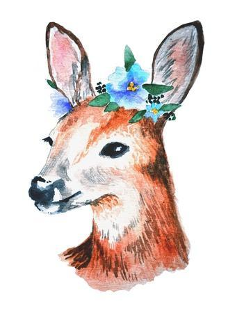 Watercolor Illustration. Cute Young Deer with Blue Flowers on Head.
