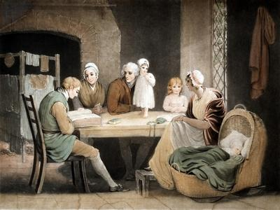 Three Generations Listening to a Reading from the Family Bible, C1800