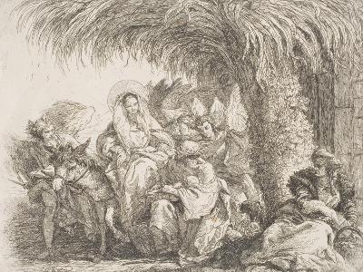 Maria Sull'Asino Parla Con Giuseppe Seduto Sotto Una Palma Con Il Bimbo in Braccio-Giandomenico Tiepolo-Giclee Print