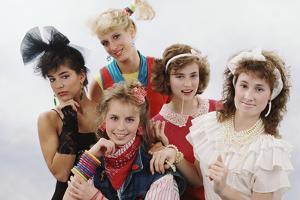Five Friends Posing Wearing 80S Fashion and Accessories by Maria Taglienti-Molinari