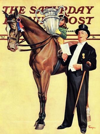 """Big Trophy, Little Girl,"" Saturday Evening Post Cover, November 9, 1940"