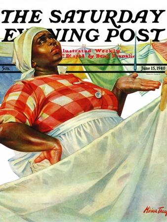 """""""Rain on Laundry Day,"""" Saturday Evening Post Cover, June 15, 1940"""