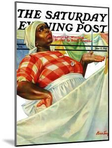 """""""Rain on Laundry Day,"""" Saturday Evening Post Cover, June 15, 1940 by Mariam Troop"""
