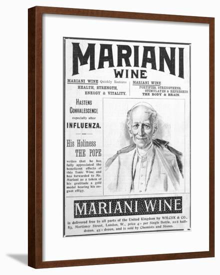 Mariani Wine Good for Health Strength Energy and Vitality as Recommended by His Holiness the Pope--Framed Giclee Print