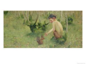A Faun Feeding a Squirrel by Marianne Stokes