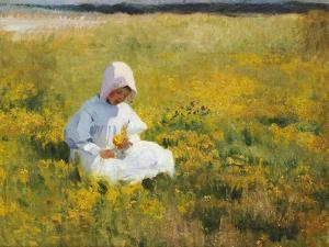 A Young Girl Picking Flowers by Marianne Stokes