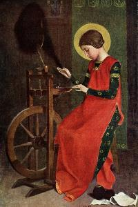 St Elizabeth of Hungary Spinning Wool for the Poor, 1901 by Marianne Stokes