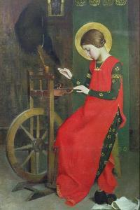 St. Elizabeth of Hungary Spinning Wool for the Poor, C. 1895 by Marianne Stokes